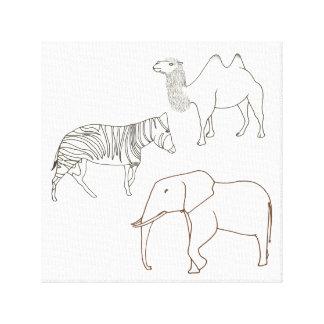 Pintura en lona envuelta camello de la cebra del impresión en lienzo