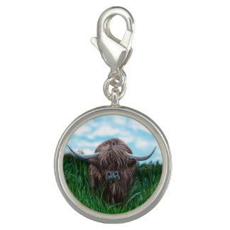 Pintura escocesa de la vaca de la montaña dijes