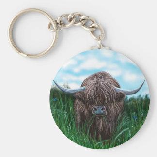 Pintura escocesa de la vaca de la montaña llavero redondo tipo pin