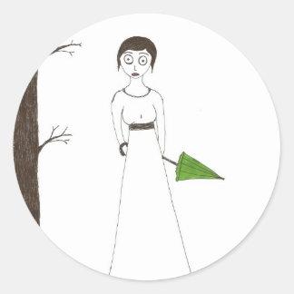 Pintura espeluznante del arroz de Jane Austen Pegatina Redonda