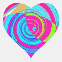 Pintura espiral reconstruida pegatina en forma de corazón