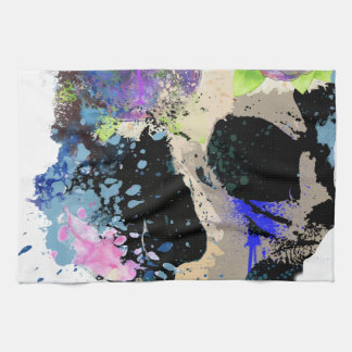 Pintura esquelética del cráneo loco de la fantasía toalla de cocina