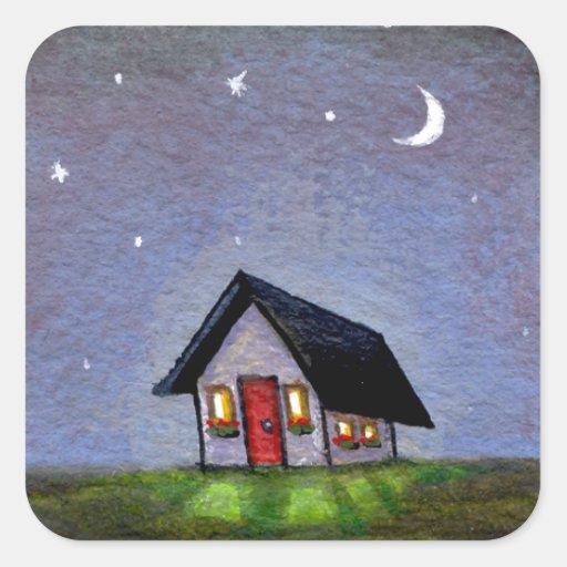 Pintura estrellada de la diversión del cielo de la calcomanías cuadradas personalizadas