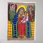 Pintura etíope de la iglesia - poster negro de Mar