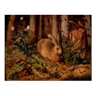 Pintura europea por el año 2023 del conejo tarjeta postal