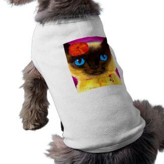 Pintura felina del arte del gato siamés - multi ropa de perro