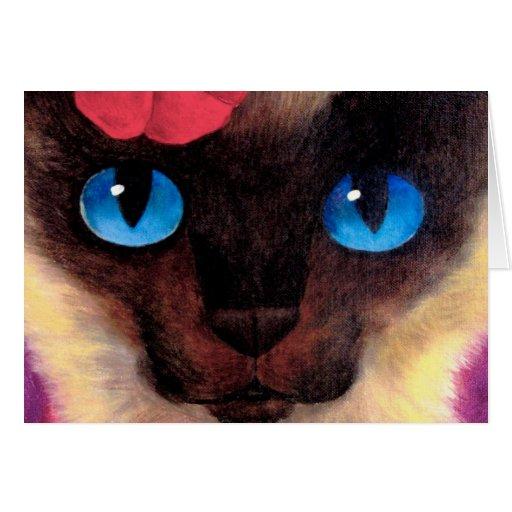 Pintura felina del mascota del gato siamés - multi tarjeton