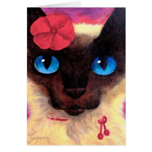 Pintura felina del mascota del gato siamés - multi tarjeta de felicitación