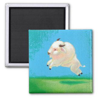 Pintura feliz del bisonte del salto del búfalo de  imán de frigorífico