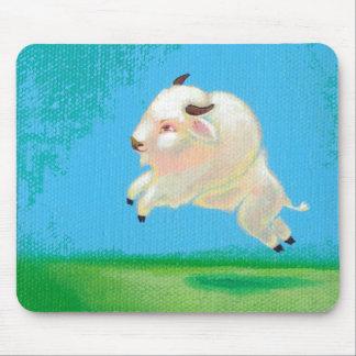 Pintura feliz del bisonte del salto del búfalo de  alfombrillas de ratón