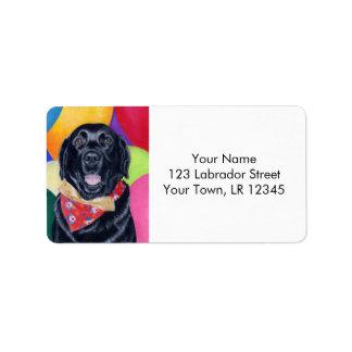 Pintura feliz negra de Labrador Birthay Etiquetas De Dirección