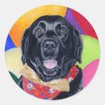 Pintura feliz negra de Labrador Birthay Pegatinas