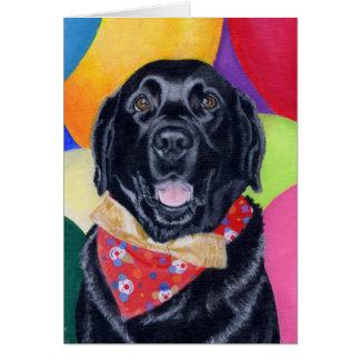 Pintura feliz negra de Labrador Birthay Tarjeta De Felicitación