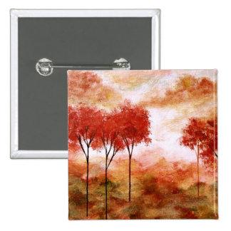 Pintura flaca roja de los árboles del arte pin cuadrada 5 cm