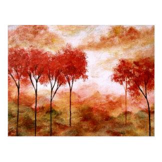Pintura flaca roja de los árboles del arte abstrac postal