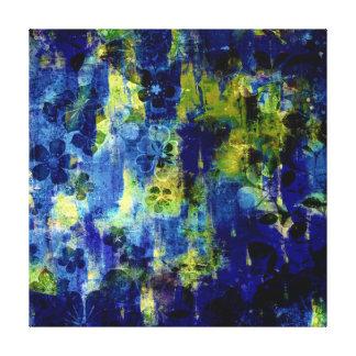 Pintura floral abstracta azul y amarilla lona envuelta para galerías