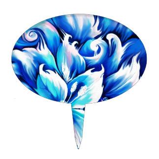 Pintura floral abstracta azul y rosada decoración para tarta