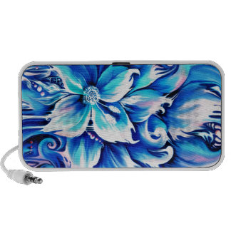 Pintura floral abstracta azul y rosada laptop altavoces