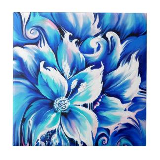 Pintura floral abstracta azul y rosada tejas  cerámicas