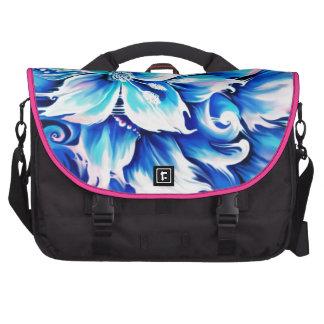 Pintura floral abstracta azul y rosada bolsas para ordenador