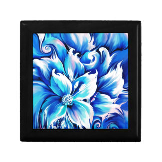 Pintura floral abstracta azul y rosada cajas de recuerdo