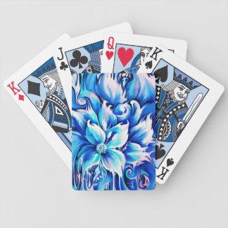 Pintura floral abstracta azul y rosada baraja cartas de poker