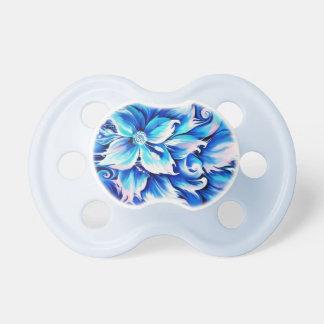 Pintura floral abstracta azul y rosada chupete de bebe