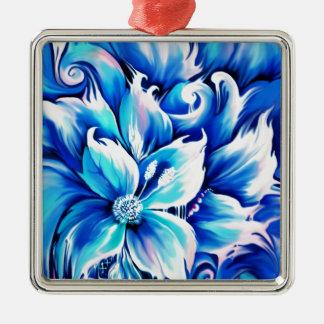 Pintura floral abstracta azul y rosada ornamento para reyes magos