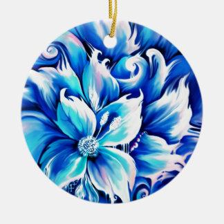 Pintura floral abstracta azul y rosada ornaments para arbol de navidad