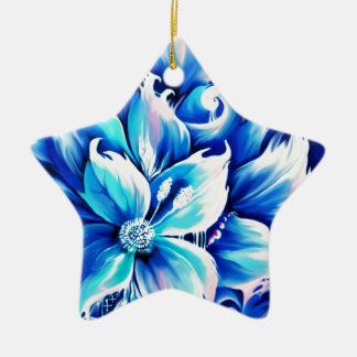 Pintura floral abstracta azul y rosada ornamentos para reyes magos