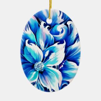 Pintura floral abstracta azul y rosada ornamento para arbol de navidad
