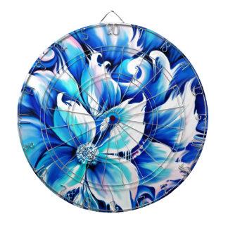 Pintura floral abstracta azul y rosada tablero de dardos