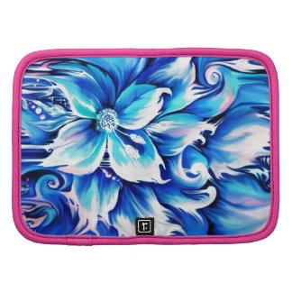 Pintura floral abstracta azul y rosada organizadores
