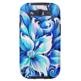 Pintura floral abstracta azul y rosada galaxy SIII cárcasas