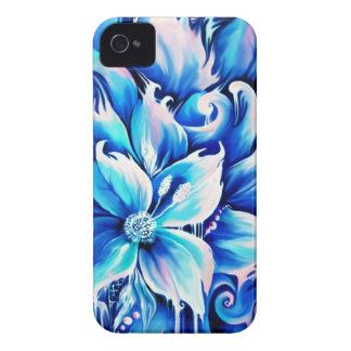 Pintura floral abstracta azul y rosada iPhone 4 protectores