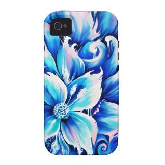 Pintura floral abstracta azul y rosada iPhone 4/4S fundas