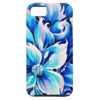 Pintura floral abstracta azul y rosada iPhone 5 Case-Mate carcasa