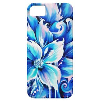 Pintura floral abstracta azul y rosada iPhone 5 carcasas