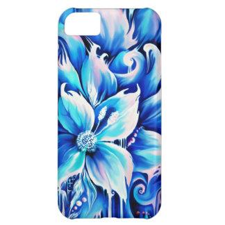 Pintura floral abstracta azul y rosada