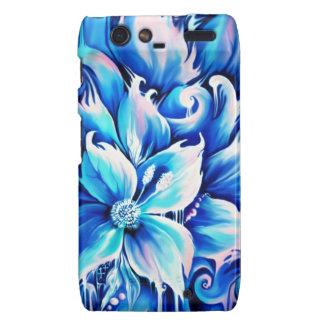 Pintura floral abstracta azul y rosada droid RAZR fundas