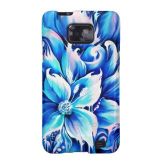 Pintura floral abstracta azul y rosada galaxy s2 carcasa