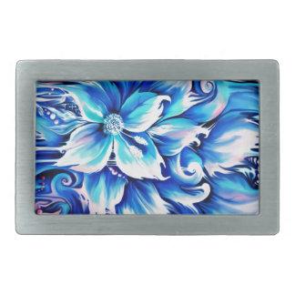 Pintura floral abstracta azul y rosada hebilla cinturon rectangular