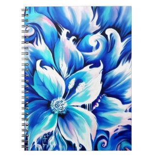 Pintura floral abstracta azul y rosada libros de apuntes con espiral