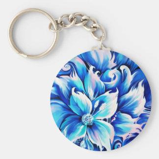 Pintura floral abstracta azul y rosada llavero