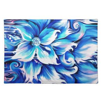 Pintura floral abstracta azul y rosada mantel individual