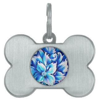Pintura floral abstracta azul y rosada placas de mascota
