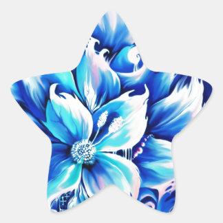 Pintura floral abstracta azul y rosada calcomanía forma de estrellae