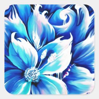 Pintura floral abstracta azul y rosada calcomanías cuadradass