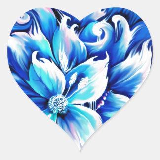 Pintura floral abstracta azul y rosada pegatina de corazón personalizadas