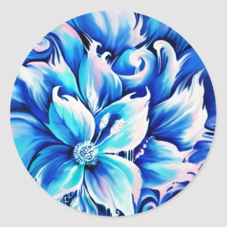 Pintura floral abstracta azul y rosada pegatinas redondas